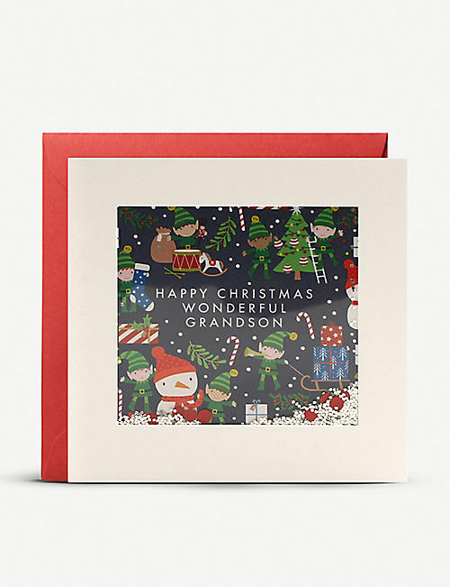 JAMES ELLIS Grandson Elf Christmas Shakies card 13cm x 13cm