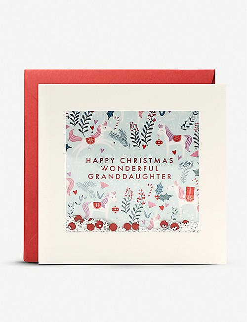 JAMES ELLIS Happy Christmas Wonderful Granddaughter greetings card 13cm x 13cm