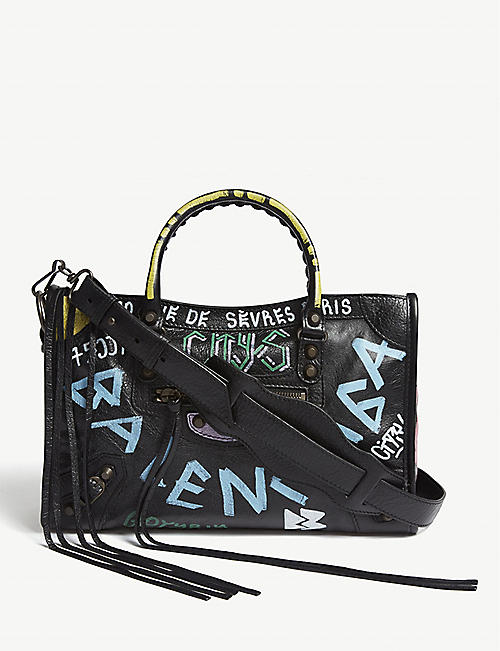 BALENCIAGA Classic City S graffiti-print leather shoulder bag