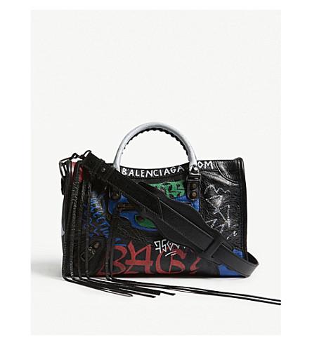 BALENCIAGA Graffiti Classic City leather shoulder bag (Multi 7a96500c53867