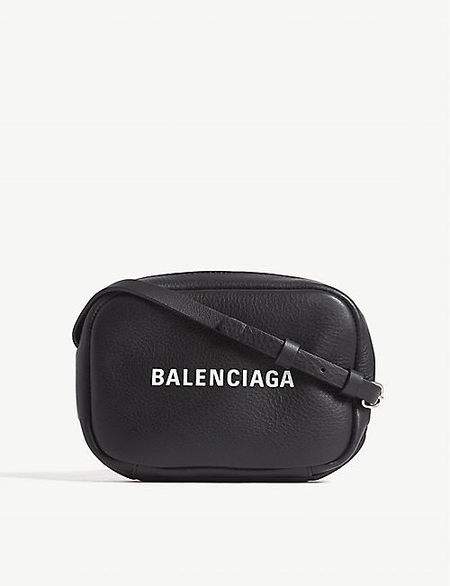 BALENCIAGA: Logo-print leather cross-body camera bag