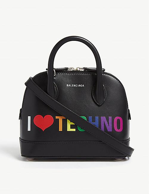 43e20d53d3bb4 BALENCIAGA I Love Techno logo Ville leather tote