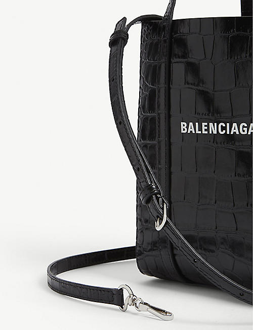 BALENCIAGA Everyday croc-embossed leather tote bag XXS