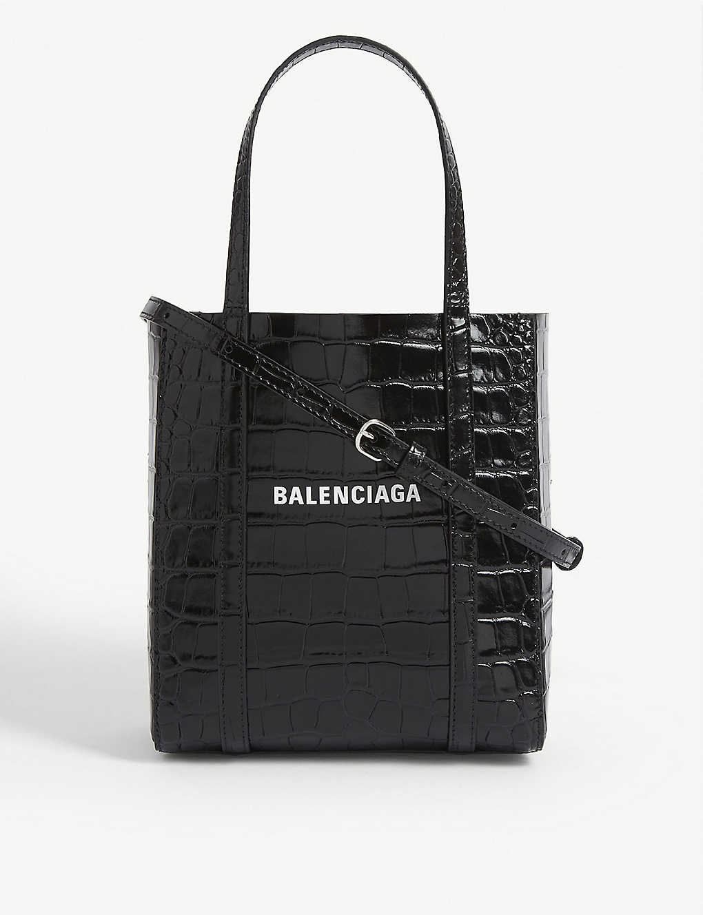 BALENCIAGA: Croc-embossed leather XXS Everyday tote bag