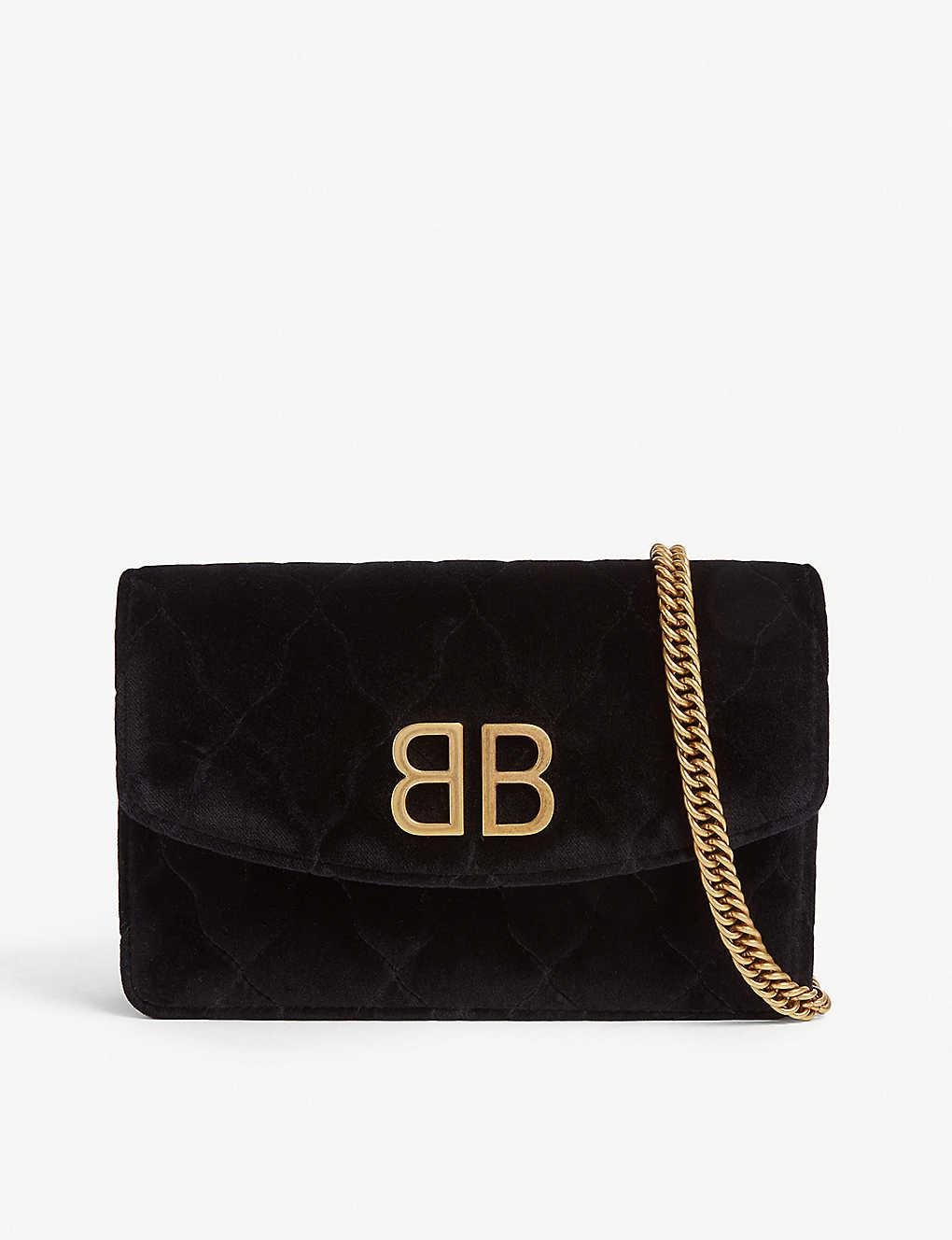 885195de0342f BALENCIAGA - Velvet wallet on chain