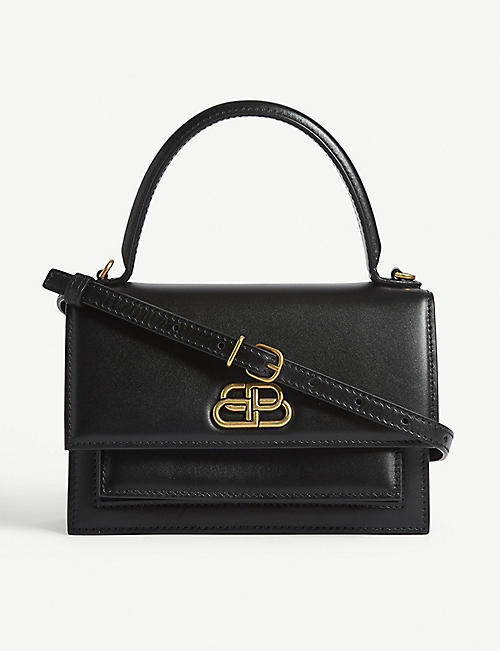 BALENCIAGA Logo-embellished leather shoulder bag
