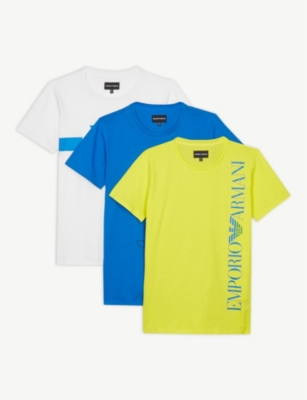 EMPORIO ARMANI Set of 3 logo-print cotton T-shirts 4-16 years