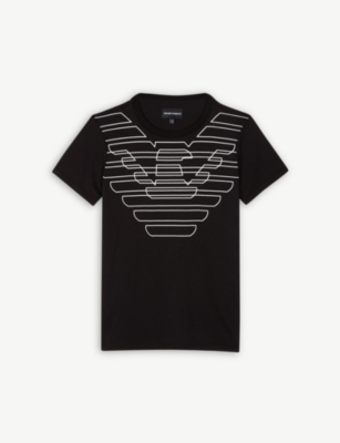 EMPORIO ARMANI Double logo cotton T-shirt 4-16 years