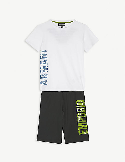 EMPORIO ARMANI Eagle logo cotton T-shirt and shorts set 4-16 years
