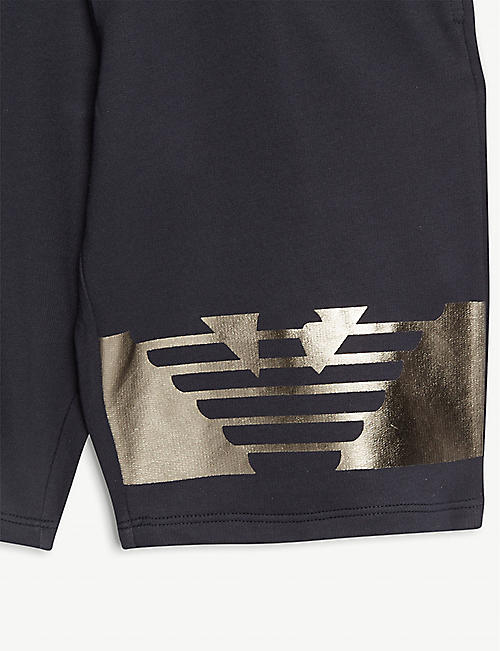 EMPORIO ARMANI Branded cotton T-shirt and shorts set 4-16 years