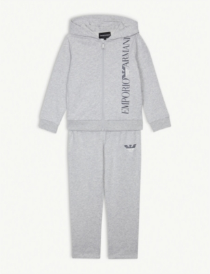 EMPORIO ARMANI Cotton logo tracksuit set 4-14 years