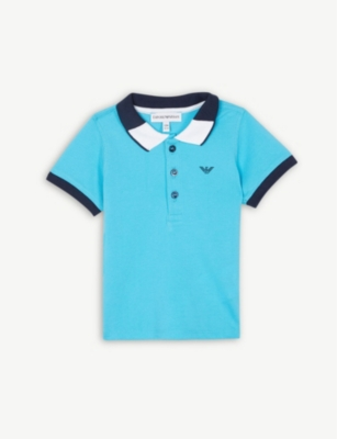 EMPORIO ARMANI Cotton logo short sleeve polo shirt 4-14 years