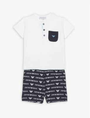 EMPORIO ARMANI Logo T-shirt and shorts set 6-36 months