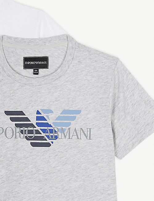 EMPORIO ARMANI Logo print cotton T-shirts set of two 4-16 years