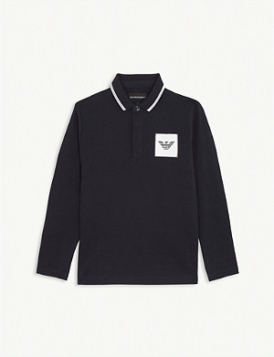 EMPORIO ARMANI Logo patch long-sleeved cotton polo shirt 4-16 years