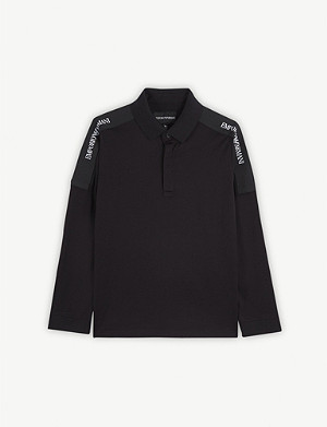 EMPORIO ARMANI Logo tape long-sleeved cotton polo 4-16 years