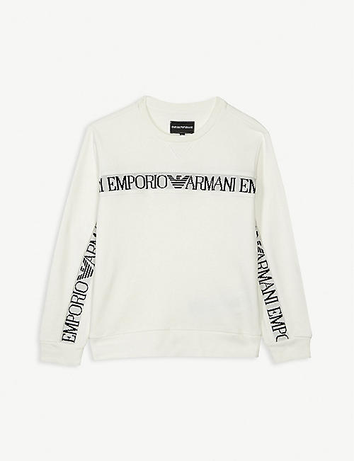 EMPORIO ARMANI Tape logo cotton sweatshirt 4-16 years