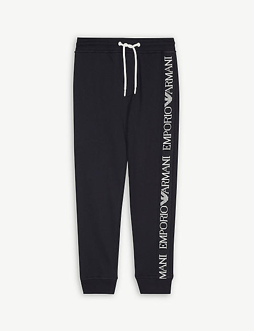 EMPORIO ARMANI Tape logo cotton tracksuit bottoms 4-16 years