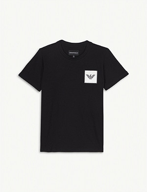 EMPORIO ARMANI Eagle appliqué cotton T-shirt 4-16 years