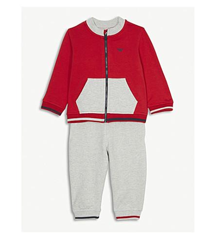 291340307 ARMANI JUNIOR - Logo colour-block cotton-blend tracksuit 6-36 months ...