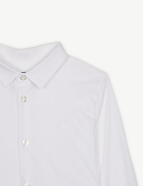 EMPORIO ARMANI Logo cotton poplin shirt 4-16 years