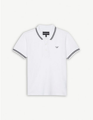 EMPORIO ARMANI: Tipped stretch-cotton polo shirt 4-16 years