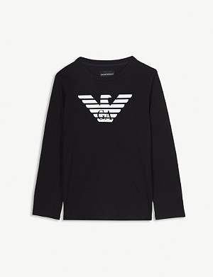 EMPORIO ARMANI Logo cotton long-sleeve T-shirt 4-16 years