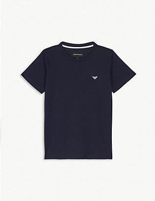 EMPORIO ARMANI: Logo cotton T-shirt 4-16 years