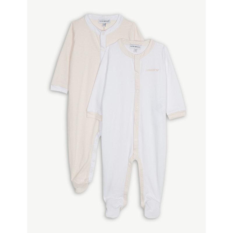 EMPORIO ARMANI | Logo Cotton Sleepsuits Gift Set 1-12 Months | Goxip