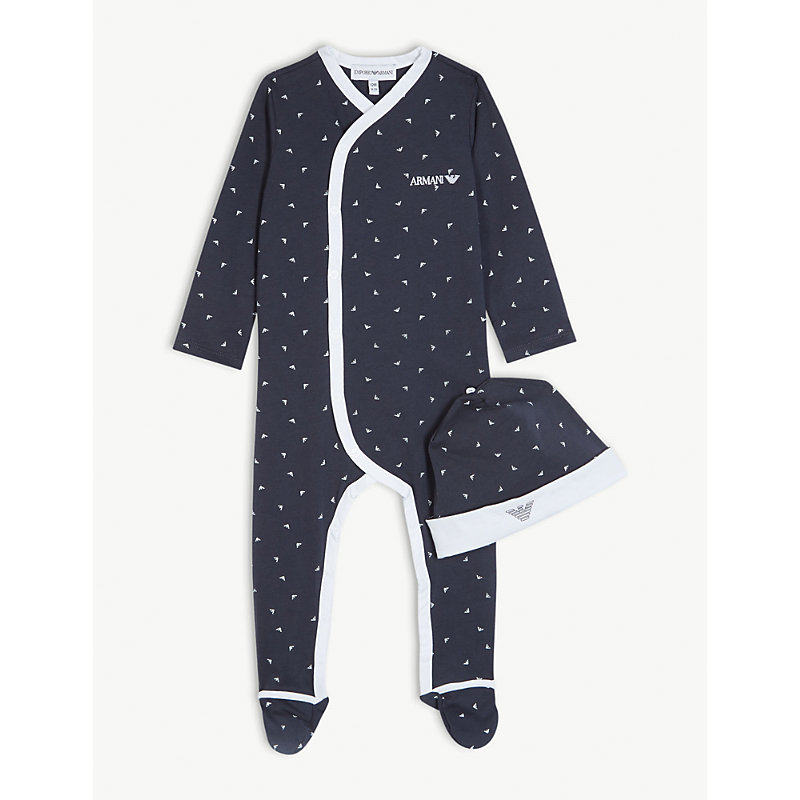 EMPORIO ARMANI | My First Sleepsuit And Hat Cotton Set 1-12 Months | Goxip