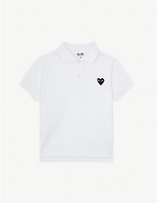 COMME DES GARCONS: Cotton heart motif polo shirt 2-6 years