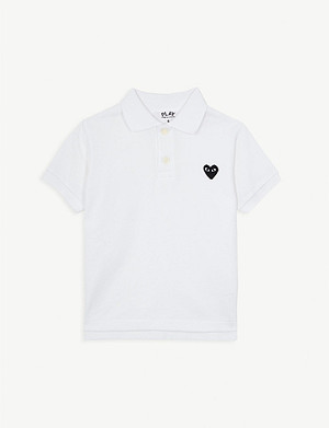 COMME DES GARCONS Cotton heart motif polo shirt 2-6 years