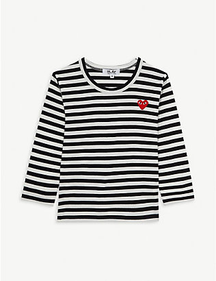 COMME DES GARCONS: Play logo striped long-sleeve cotton T-shirt 2-6 years