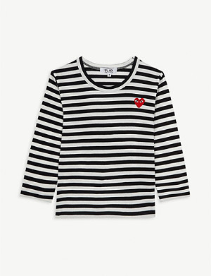 COMME DES GARCONS Play logo striped long-sleeve cotton T-shirt 2-6 years