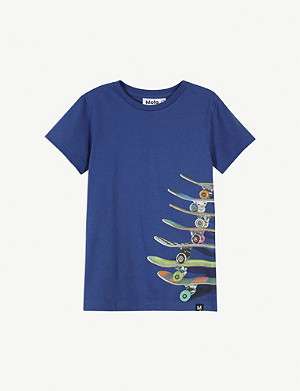 MOLO Skateboard stack print cotton T-shirt 4-14 years