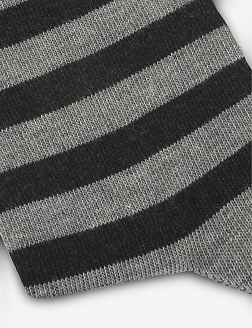 FALKE Double stripe cotton-blend socks