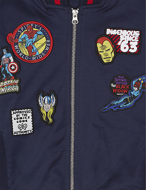 FABRIC FLAVOURS Marvel badge cotton bomber jacket 3-8 years