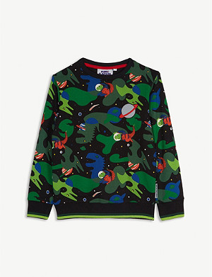 FABRIC FLAVOURS Out of this World space dinosaurs cotton jumper 3-10 years