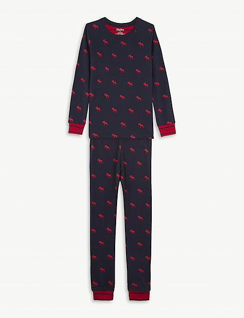 HATLEY Moose print organic cotton pyjamas 4-12 years