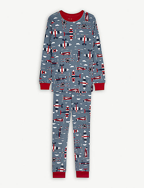 HATLEY Plane print organic cotton pyjamas 4-12 years