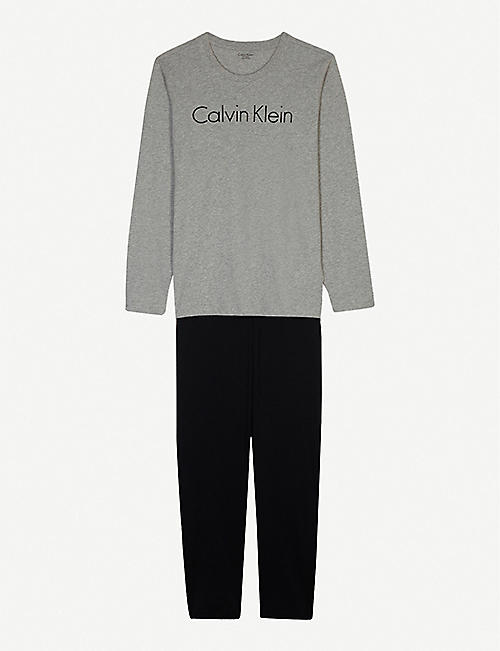 CALVIN KLEIN: Logo print cotton pyjamas 8-16 years