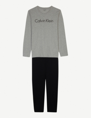 CALVIN KLEIN Logo print cotton pyjamas 4-16 years