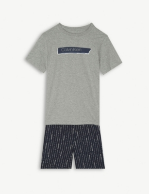 CALVIN KLEIN Logo print cotton pyjama set 8-16 years