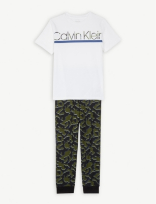 CALVIN KLEIN Camo print cotton pyjamas 4-16 years