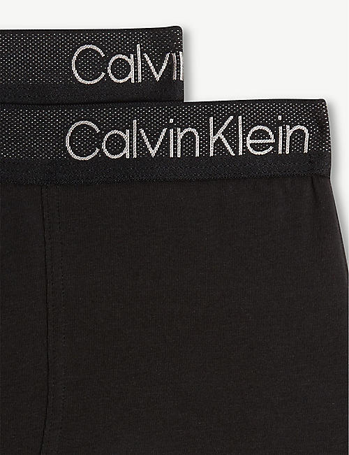 CALVIN KLEIN CK Perforate cotton-blend boxer trunks set of two 8-16 years