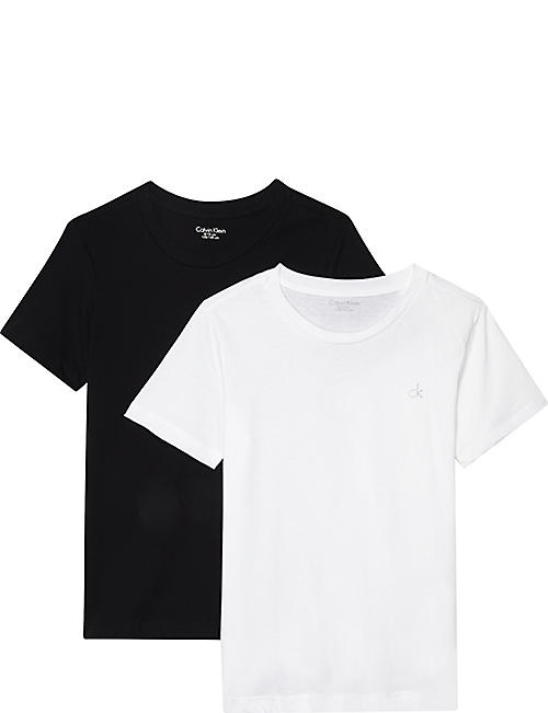 CALVIN KLEIN: Logo cotton T-shirts pack of two 8-16 years
