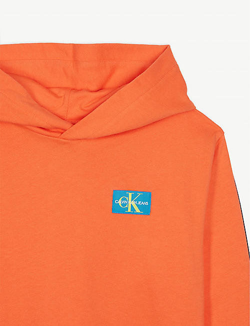 CALVIN KLEIN JEANS Monogram tape cotton hoody 4-16 years