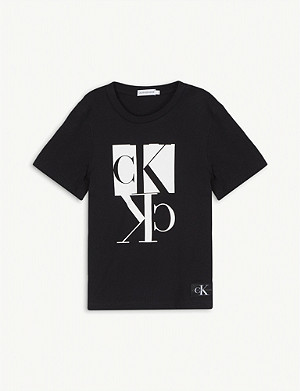 CALVIN KLEIN JEANS Mirror logo print cotton T-shirt 4-16 years