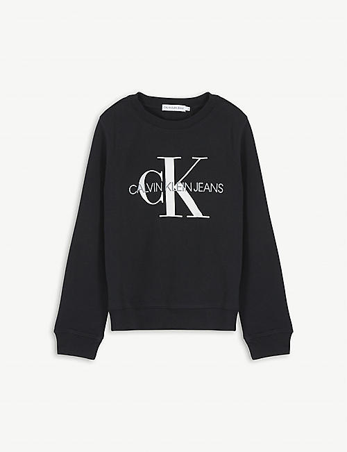 CALVIN KLEIN JEANS Monogram print cotton sweatshirt 4-14 years