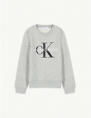 CALVIN KLEIN JEANS: Monogram print cotton sweatshirt 4-16 years